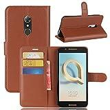GARITANE Alcatel A7 Hülle Case Brieftasche mit Kartenfächer Handyhülle Schutzhülle Lederhülle Standerfunktion Magnet für Alcatel A7 (Braun)