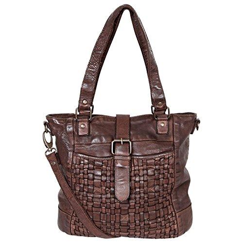 Bear Design Sac Shopper sac fourre-tout cabas avec bandoulière CL32650 en cuir tressé, lavée Marron