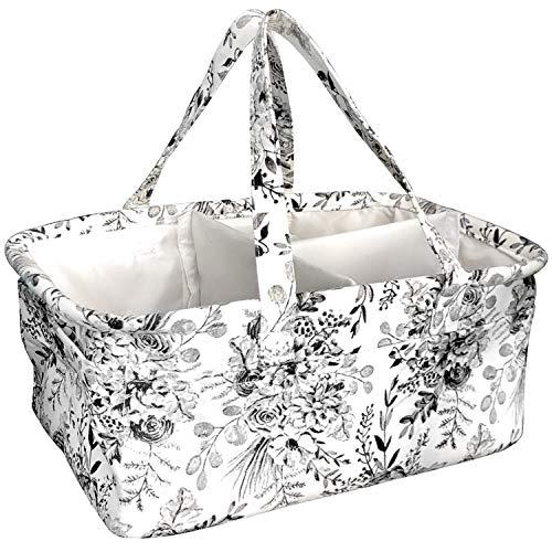 Stitch Happy Designer Stricktasche Garnaufbewahrung mit 7 Mehrzwecktaschen und extra großer Reißverschlusstasche für Häkelutensilien innen, schützt Häkelgarne blumenmuster