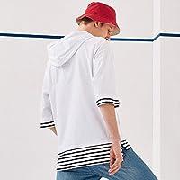 MN ropa de los hombres de la tendencia occidental de la camisa de letras de impresión masculina suelta a rayas de cinco puntos manga de los hombres con capucha mangas con capucha tendencia,blanco,XL