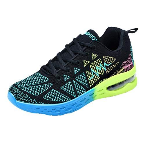 WWricotta Zapatillas de Correr Hombre Mujer Geometría Casual Moda Cómodas Calzado para Deporte Zapatos para Andar con Cordones Bambas de Running Deportivas Zapatos de Gimnasia