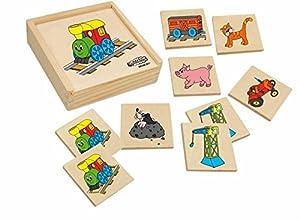 Woodyland Juego DE Aprendizaje Legespiel Memoria imágenes Madera Animales Tren Woody Memoria de Madera