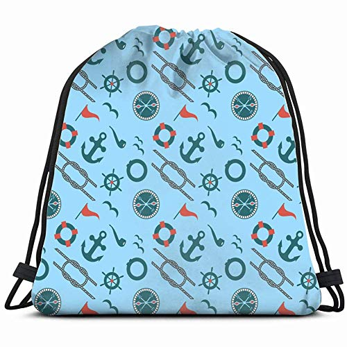DHNKW coored Pattern Marine Ship Attributes Lightweight Drawstring Bag Sport Gym Sack Bag Backpack 17X14 Inch