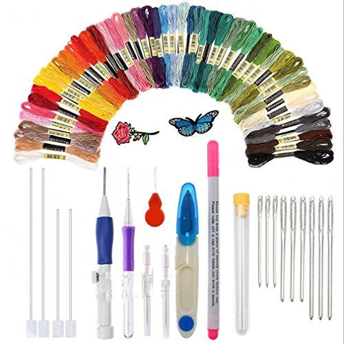 Jixing Magic Stick Pen Punch Nadel, Stickerei Pen Set, Stickmuster Punch Needle Kit Handwerk Werkzeug, einschließlich 50 Farbe Threads für DIY Threaders Nähen Stricken (Punch-stickerei-starter-kit)