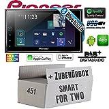 Smart ForTwo 451 2007-2010 - Autoradio Radio Pioneer SPH-DA130DAB - 2-Din Bluetooth | DAB+ | USB | Apple CarPlay Einbauzubehör - Einbauset