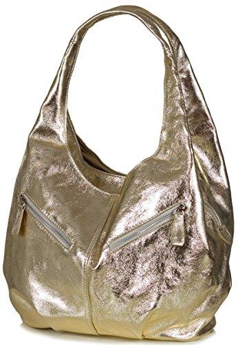 Taschenloft Damen Hobo Handtasche Leder | geräumige Beuteltasche mit 3 Fächern | 30x25x17cm Gold Light Gold