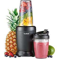 VonShef UltraBlend Appareil à Smoothie 1000 W - Mixeur Blender pour Fruits et Légumes - Couvercle antifuite, couvercle à bec verseur et 2 jarres de 800 ml et 500 ml