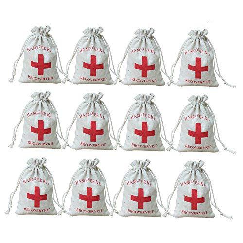 """AmaJOY \""""Hangover Kit\"""" Gastgeschenktaschen für Hochzeiten, mit rotem Kreuz, mit Kordelzug, aus Musselin-Baumwolle, 10x 15cm, 20 Stück"""