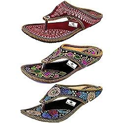 Thari Choice Woman and Girls Ethnic Slipper (Pack of 3) (Ind/Uk-6 or Eu-39, Multi Colored (1))………. SKU : MSC+OD+KRG-39