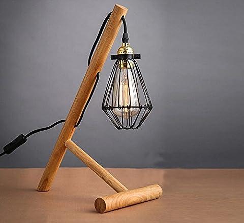 MEIXI- Lampe de table en bois massif abat-jour simple crochets
