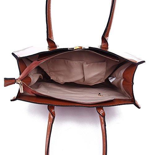 LeahWard® Damen Kunstleder Tote Handtaschen Groß Schultertasche Für Sie dunkel nackt