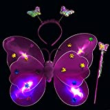 Wobbox Girls LED Flashing Light Butterfly Wings, Fairy Wings, And Angel Wings For Kids. For Garden Parties, Birthday Parties And Much More. 3 Piece Set Double Layer (Purple)