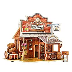 Creative Assemble Puzzle Toys Child Early Education Wooden 3D Puzzle House American Western Bar