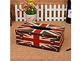 Papier à Serviettes Rétro Vintage British London drapeau boîte à mouchoirs couverture en cuir décoratif boîte (Couleur : Colorful, Taille : 25.5x14x9.5cm)