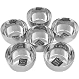 Taluka (Dia:-3.5 Inches X 2 Inches) Pure Stainless Steel Halwa Bowls Dessert Bowls Small Plates Set Of 6 Weight :- 110 Grams Each