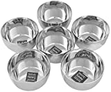 #4: Taluka (Dia:-3.5 Inches x 2 Inches) Pure Stainless Steel Halwa bowls Dessert Bowls Small Plates Set Of 6 Weight :- 110 Grams each