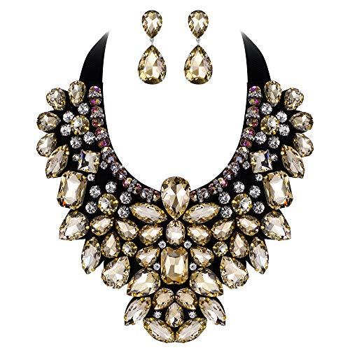 Flyonce Damen Kristall Retro Kostüm Aussage Halskette Ohrringe Set für Bankett, Prom Braun ()