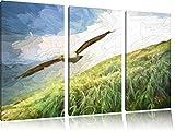 Majestic Bald Eagle Brush Effect immagine Canvas 3 PC 120x80 immagine sulla tela, XXL enormi immagini completamente Pagina con la barella, stampe d'arte sul murale cornice gänstiger come la pittura o un dipinto ad olio, non un manifesto o un banner,