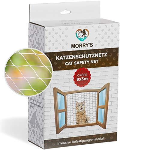 Morry\'s Katzennetz Transparent für Balkon & Fenster 8x3m inkl. Befestigungsmaterial