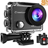 Crosstour Action Cam 4K 16MP WIFI Camera  Ultra HD Unterwasser Kamera Helmkamera Wasserdicht mit 2.4G Fernbedienung 2 ve