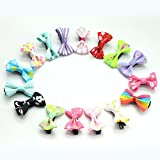 ONLINE MONK Mini Bow Shaped Hair Clips, 3 cm (Multicolour) - Pack of 14 Pieces