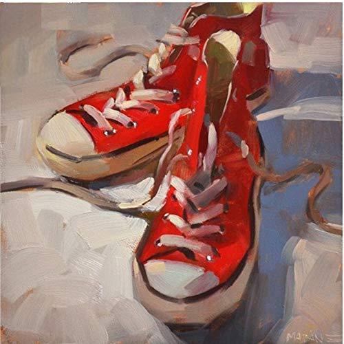 DAIMEND DIY The Red Sail Tuch Schuhe 5D Handwerk Diamant Malerei Kreuzstich Stickerei Wohnkultur Mosaik Kit Platz,50x50cm - Sail Red Schuhe