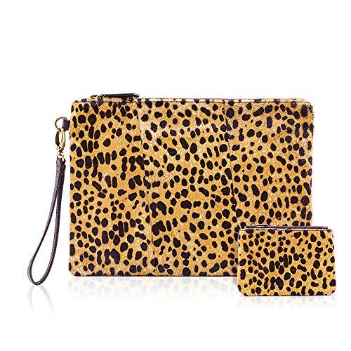 POYOLEE Damen leopard clutch mit münzen leopard geldbeutel für armbandes mappen-echtes leder haircalf durchschnittlich leopard-a (Haircalf Leopard)