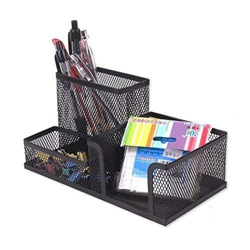 Almand Metal Mesh Multi Functional Pen Stand , Metal Mesh Multi-Purpose Desktop Organizer | desk organizer box | desk organizer pen holder | stationary holder for students