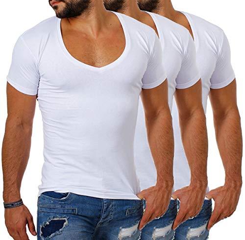 Young&Rich / Rerock Herren Uni T-Shirt mit extra tiefem V-Ausschnitt Slimfit deep V-Neck Stretch dehnbar Einfarbiges Basic Shirt, Grösse:M, Farbe:Weiß - 3 Stück