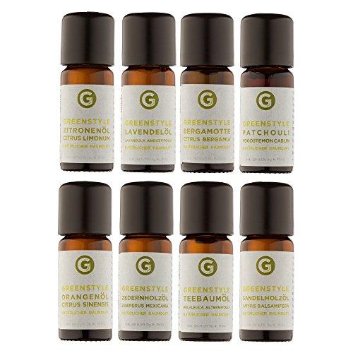 Ätherisches Öl Set - 100% naturreine Öle von greenstyle - Teebaum, Lavendel, Zitrone, Orange, Sandelholz, Zeder, Bergamotte, Patchouli - (8x10ml) (Zedernholz Lavendel)