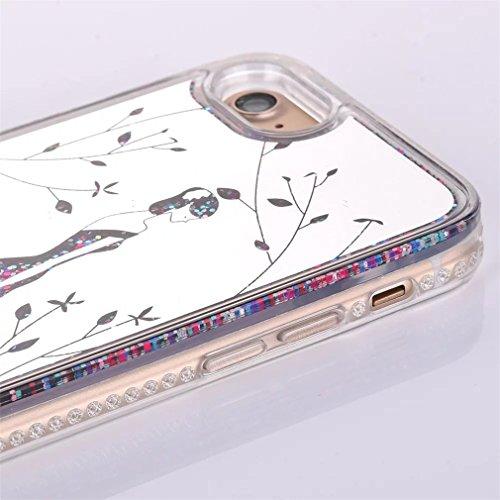iPhone 7Coque liquide Housse de paillettes, CE i7[Sparkle Diamant Mode Miroir] Luxe Bling hybride souple TPU Bumper + Ultra fin PC Dos rigide Miroir pour iPhone 711,9cm [+ 1x protecteur d'écran + A Mirror Liquid 6