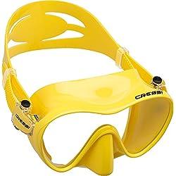 Cressi F1 Masque Plongee Snorkeling Adulte, Technologie Frameless Jaune