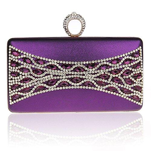 Il nuovo anello di diamanti mini pochette banchetto pacchetto del sacchetto di sera di modo vestito bag sposa ( Colore : Nero ) Viola