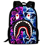 Sacs à Cordon,Sacs de Sport,Sacs à Dos Loisir, Bape Blood Shark Purple Blue Camo Backpack College School Travel Bags Waterproof Shoulder Backpacks for Men Women