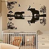 jiushizq Elephant Tiger Adesivo Albero Africano Animali Bambini Bambini Nursery Decor Vinyl Sticker Rimovibile Autoadesivo Murale 120x85cm