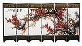 CHN Elements. ms-10–6Platten Holz Lackiert Tischplatte Bildschirm mit Oriental Design auf Beiden Sides-Cherry Bloosom