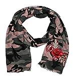 Schal mit Stickern bestickt - Herz Anker Rose Applikationen Patches Sticker Stickers Blogger Stick Patch Stickerei (Army Rose Pink)