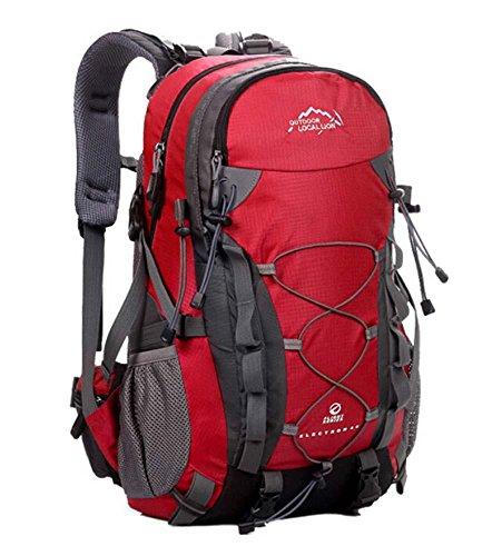 ShangYi Borsa all'aperto alpinismo borsa grande capacità zaino escursionismo per uomini e donne 40L , red Red