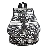 Minetom Fashion Retro-Dame-Girls Ethnische Vielseitig Canvas Satchel Rucksack Lässig Tasche Freizeit-Rucksack Schul