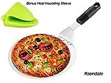 Pelle à pizza/spatule à gâteaux ronde Ksendalo, diamètre 25,4cm, pour transférer facilement et en toute sécurité vos gâteaux ou pizzas, avec manche antidérapant, mini gant en silicone inclus.