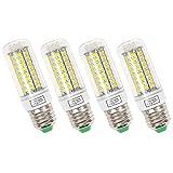 BayLee 4 Stück E27 15W LED Lampe Leuchtmittel 72LEDs Birne Beleuchtung Mais Licht 1200LM 220V Kaltweiss 6500K Maiskolben Energiespar Licht