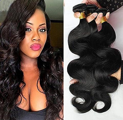 Remy Bresilien Extensions de Cheveux Ondulés Tissage 100% Cheveux Humains 3 Bundles 300g Naturel Noir (12'' 14''