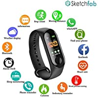 Sketchfab Plastic Digital LED Fitness Activity Tracker with Heart Rate Sensor, Blood Pressure Monitor, Steps/Calorie Count, Smartwatch for Boy's and Girl's with Waterproof Body (Black)