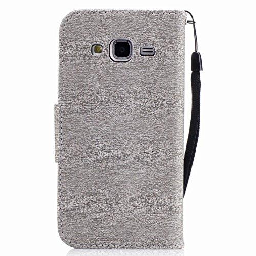 Yiizy Samsung Galaxy J3 (2016) / J320F / J320A Custodia Cover, Fiore Di Farfalla Design Sottile Flip Portafoglio PU Pelle Cuoio Copertura Shell Case Slot Schede Cavalletto Stile Libro Bumper Protettiv Grigio