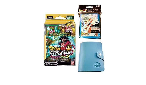 1 Porte-Cartes Universel 65 Prot/ège-Cartes Dragon Ball Super Kit Deck de d/émarrage SD05 The Crimson Saiyan en fran/çais