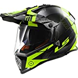 LS2 MX436 Pionier Auslösen Motocross Motorradhelm MX Helm Schwarz HI-VIS Gelb XL(61-62cm)