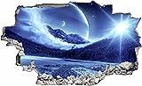 DesFoli Weltraum Space Planet Sonne All 3D Look Wandtattoo 70 x 115 cm Wanddurchbruch Wandbild Sticker Aufkleber C024