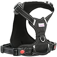 HOLUCK Dog Harness Large No Pull - Front Dog Harness Freedom, Harness Dog Adjustable Outdoor Pet and 3M Reflective Oxford Material Vest for Large and Medium Dogs (L)