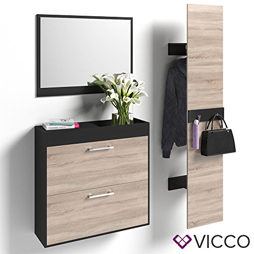 VICCO Flurgaderobe Set San Remo 200cm Wandpaneel Kleiderhaken Garderobe Flur Diele Paneel