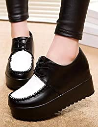ZQ 2016 Zapatos de mujer - Tacón Bajo - Comfort / Punta Redonda - Oxfords - Casual - Semicuero - Negro / Azul / Marrón , brown-us8 / eu39 / uk6 / cn39 , brown-us8 / eu39 / uk6 / cn39